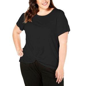 Style & Co Plus Size Twist-Hem Black T-Shirt Top